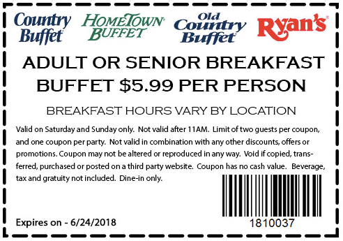 HometownBuffet.com Promo Coupon $6 breakfast buffet at Ryans, HomeTown Buffet & Old Country Buffet