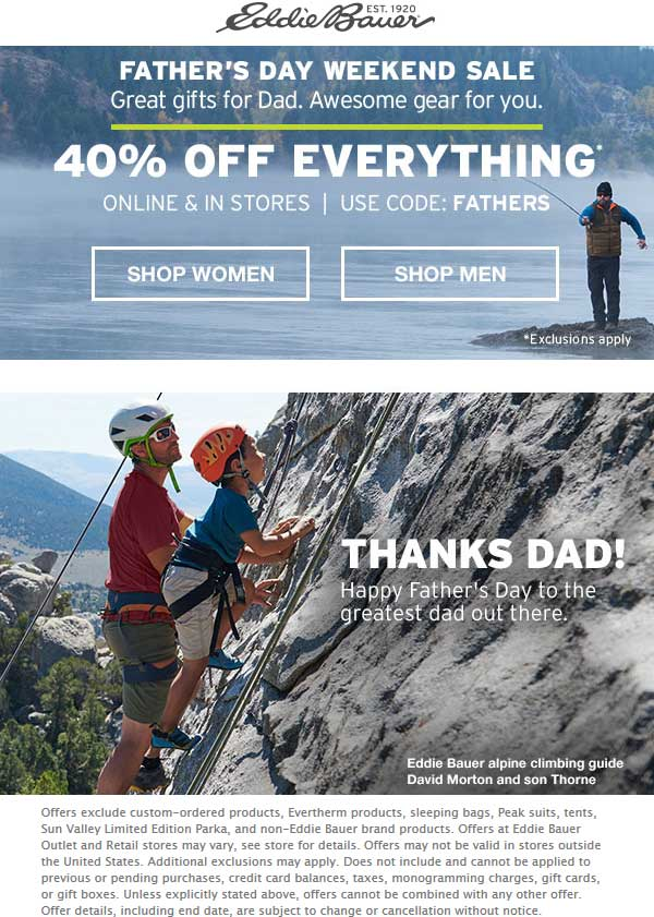 Eddie Bauer Coupon October 2018 40% off everything at Eddie Bauer, or online via promo code FATHERS