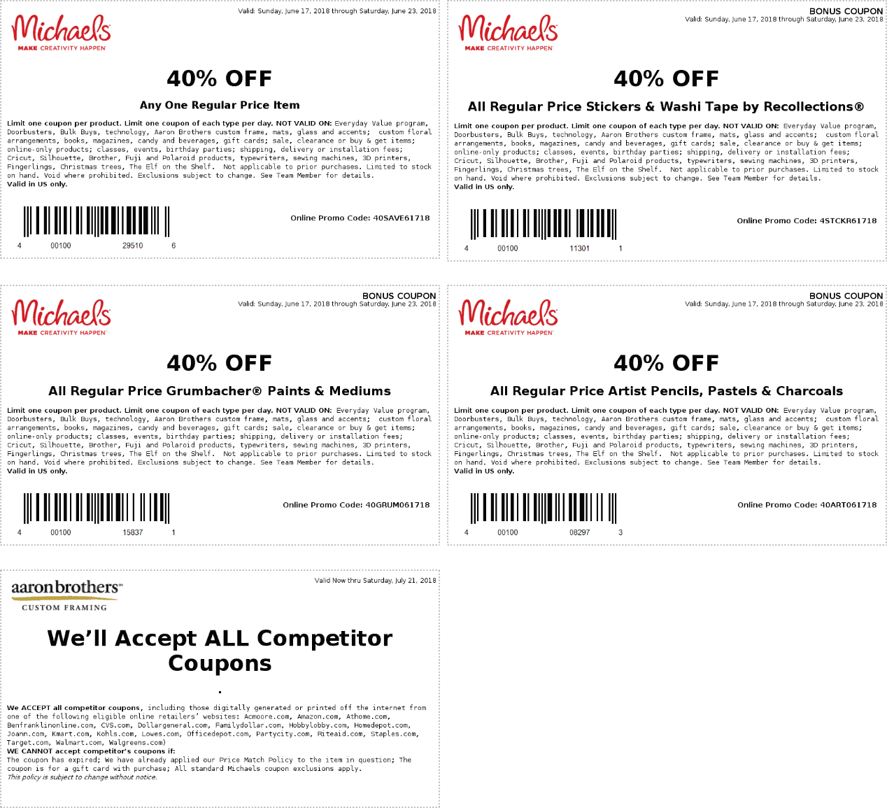 Michaels Coupon September 2018 40% off a single item & more at Michaels, or online via promo code 40SAVE61718