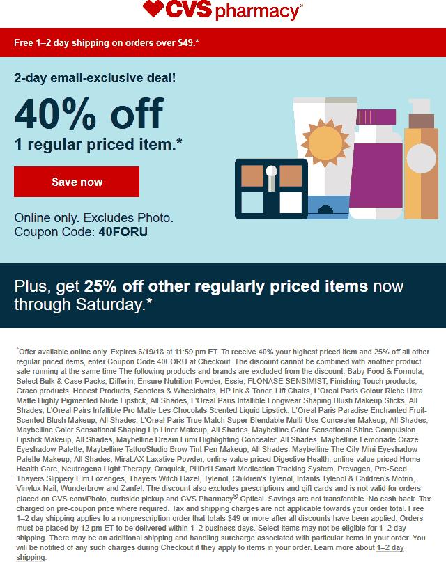 CVS Pharmacy Coupon October 2018 40% off online at CVS Pharmacy via promo code 40FORYOU