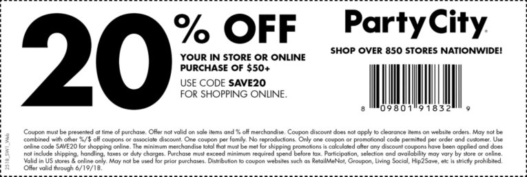 Party City Coupon July 2018 20% off $50 today at Party City, or online via promo code SAVE20