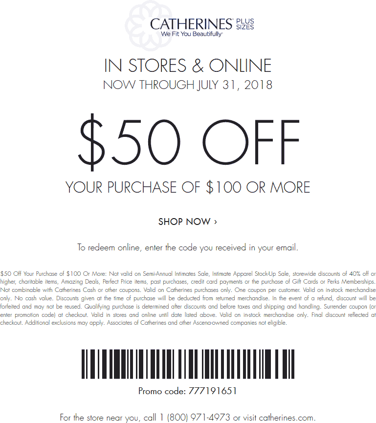 Catherines.com Promo Coupon $50 off $100 at Catherines, or online via promo code 777191651
