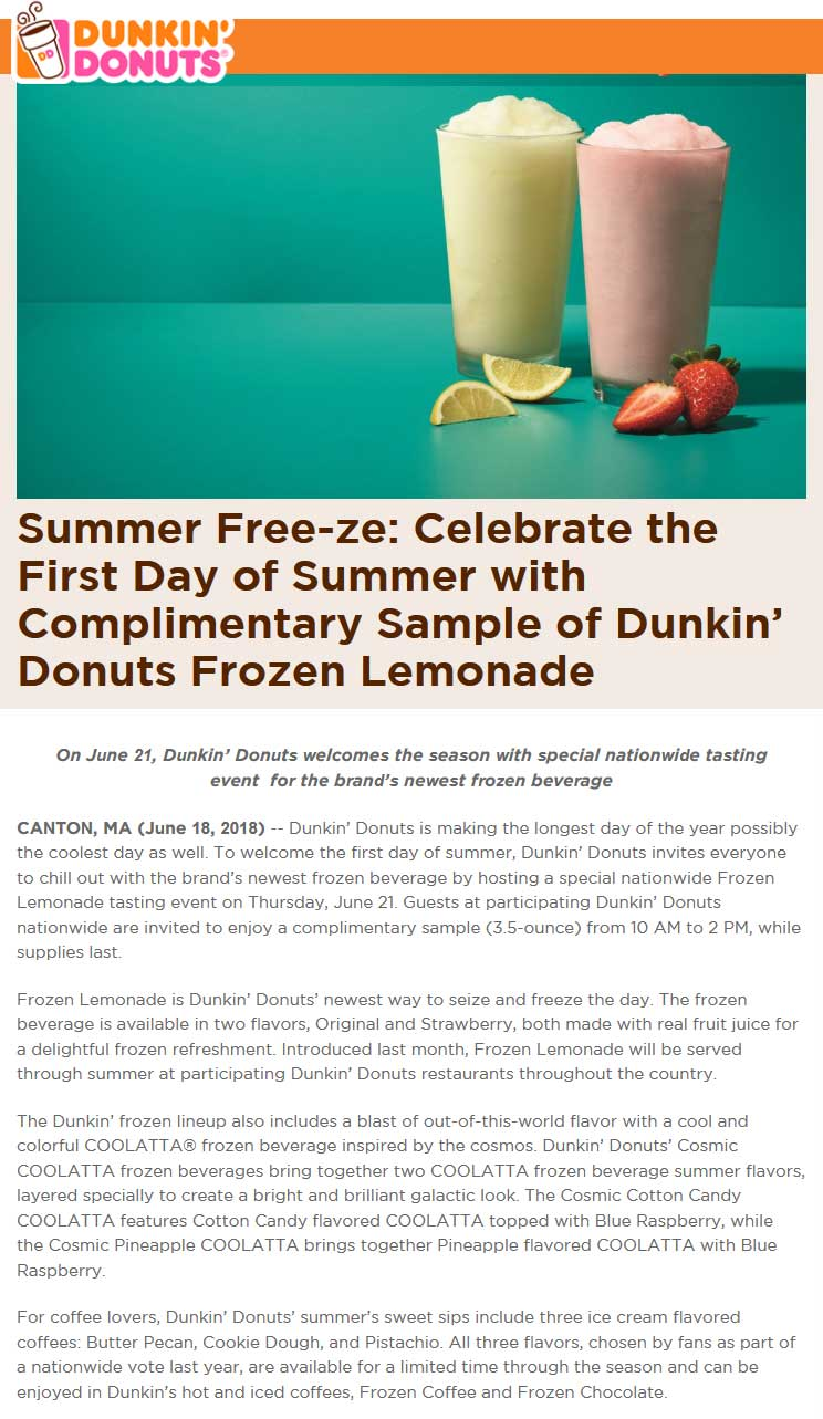 DunkinDonuts.com Promo Coupon 3.5oz frozen lemonade free 10a-2p Thursday at Dunkin Donuts