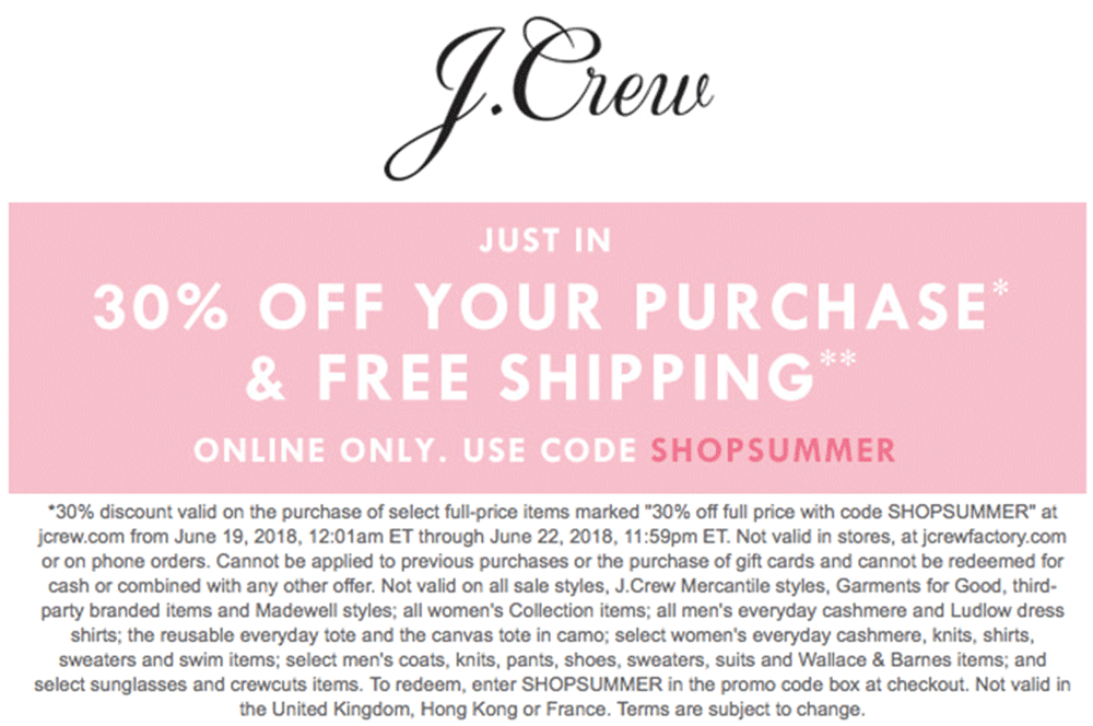 J.Crew Coupon March 2019 30% off online at J.Crew via promo code SHOPSUMMER