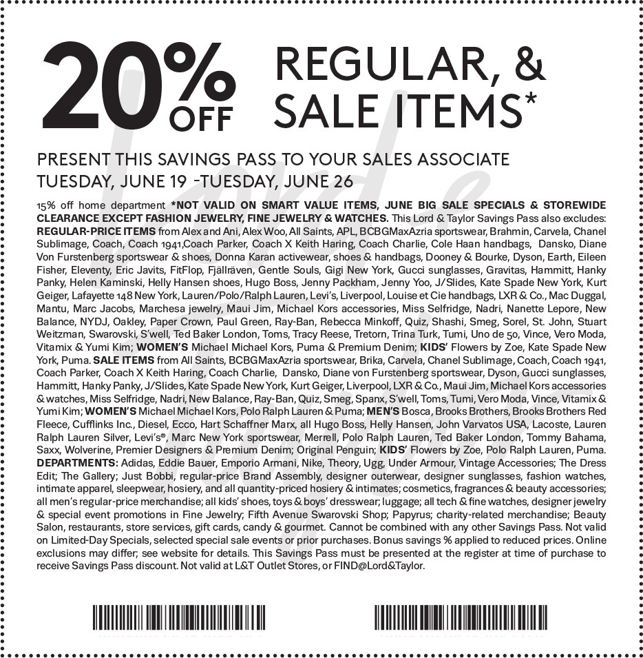 Lord&Taylor.com Promo Coupon 20% off at Lord & Taylor, or online via promo code BIG
