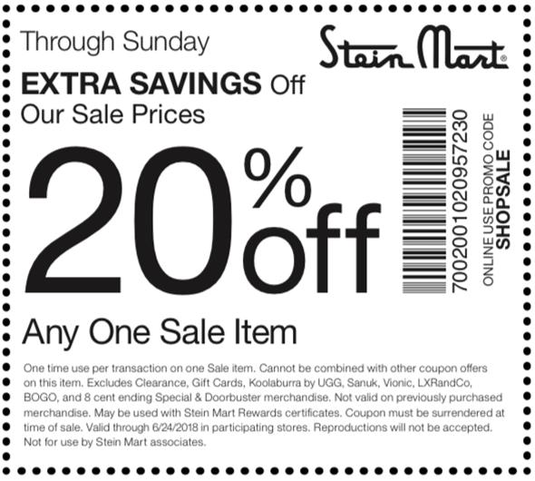 Stein Mart Coupon December 2018 20% off a single sale item at Stein Mart, or online via promo code SHOPSALE