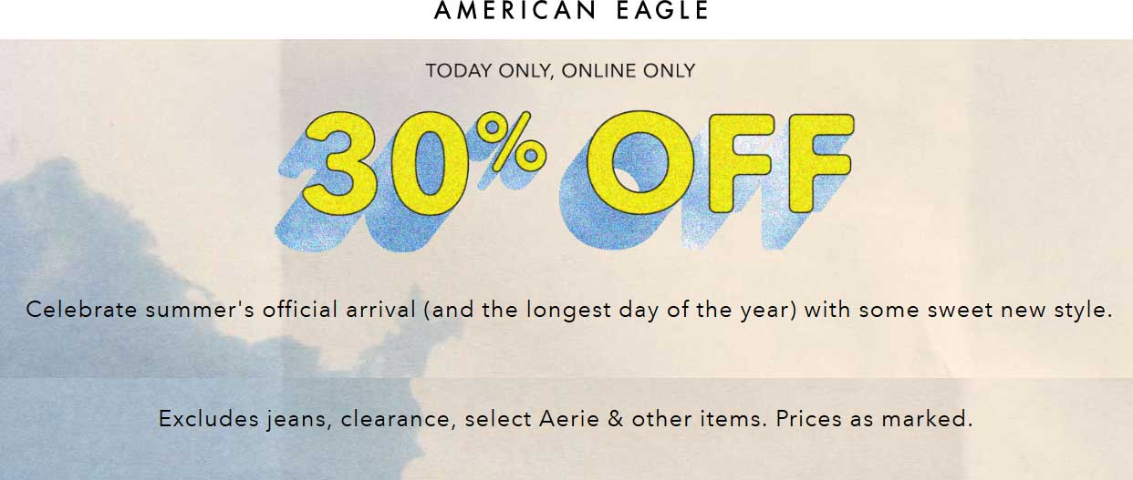 American Eagle Outfitters Coupon March 2019 30% off online today at American Eagle Outfitters