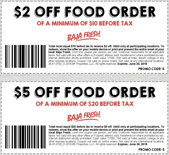 Baja Fresh Coupon March 2019 $2 off $10 & more at Baja Fresh