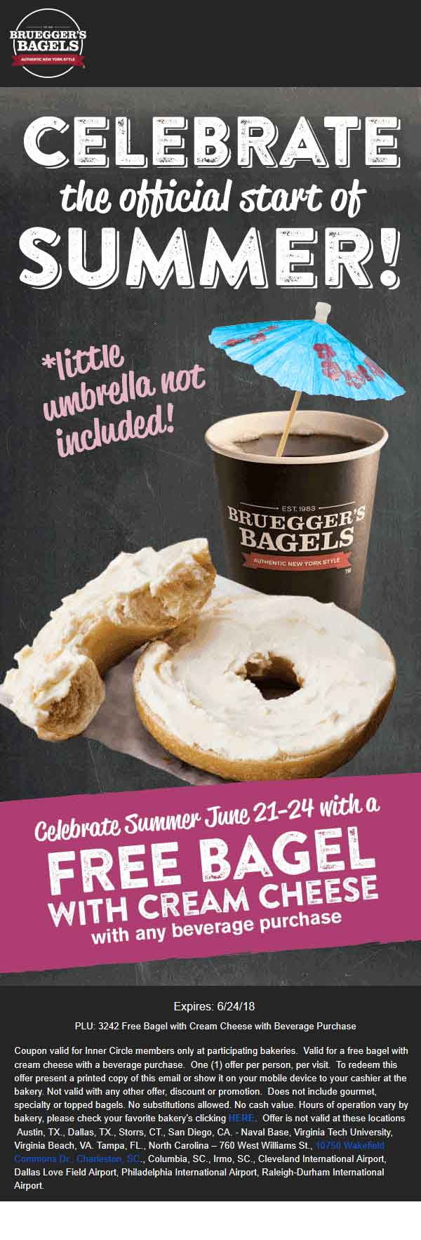 Brueggers Coupon May 2019 Free bagel + cream cheese with your beverage at Brueggers Bagels