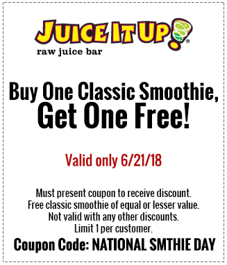 JuiceItUp.com Promo Coupon Second smoothie free today at Juice It Up