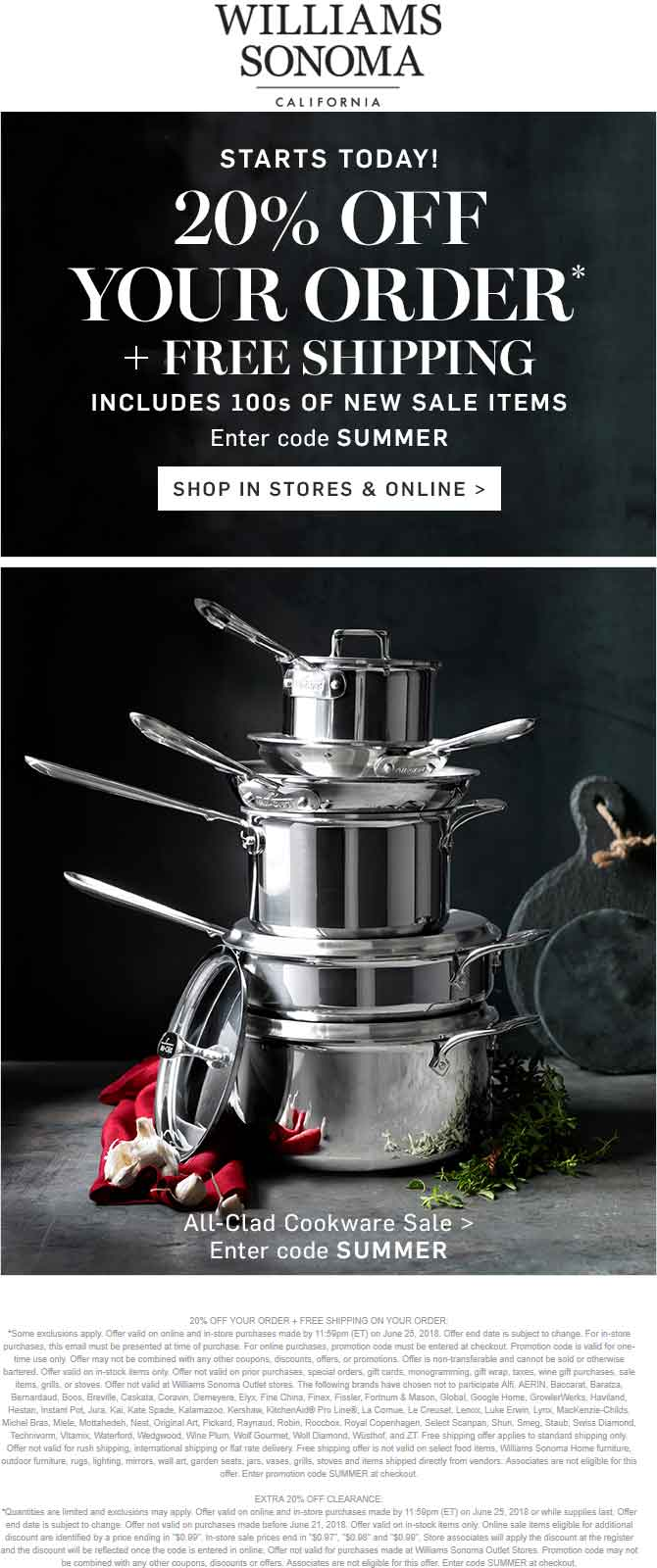 Williams Sonoma Coupon December 2018 20% off at Williams Sonoma, or online via promo code SUMMER