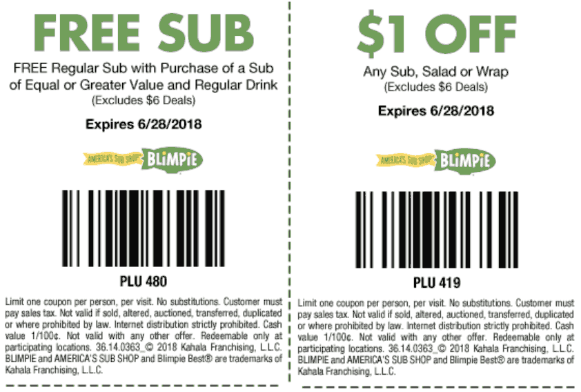 Blimpie Coupon March 2019 Second sub sandwich free at Blimpies