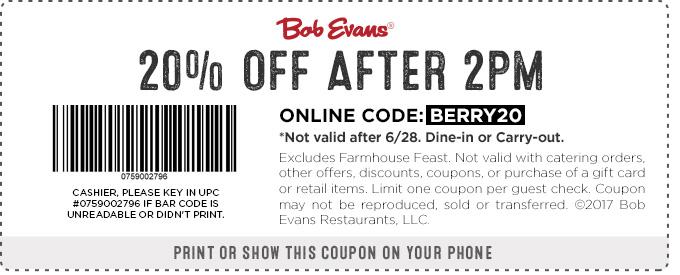 BobEvans.com Promo Coupon 20% off after 2pm at Bob Evans restaurants