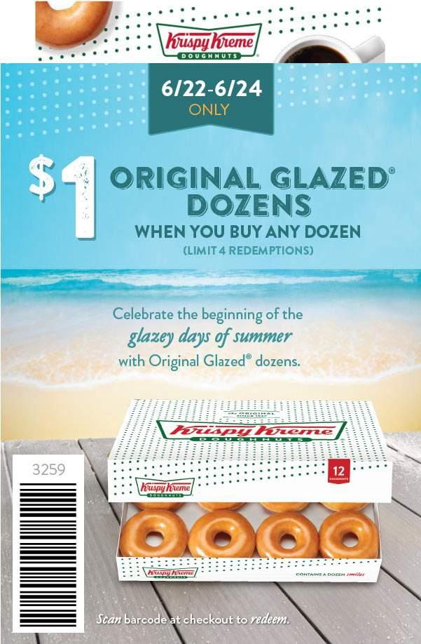 KrispyKreme.com Promo Coupon Second dozen donuts for $1 at Krispy Kreme