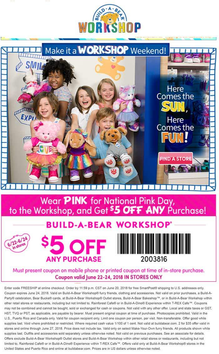 Build-A-Bear.com Promo Coupon Wear pink for $5 off any purchase at Build-A-Bear workshop