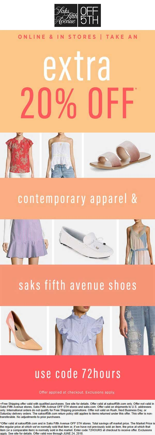 OFF 5TH Coupon October 2018 Extra 20% off contemporary at Saks Fifth Avenue OFF 5TH, or online via promo code 72hours