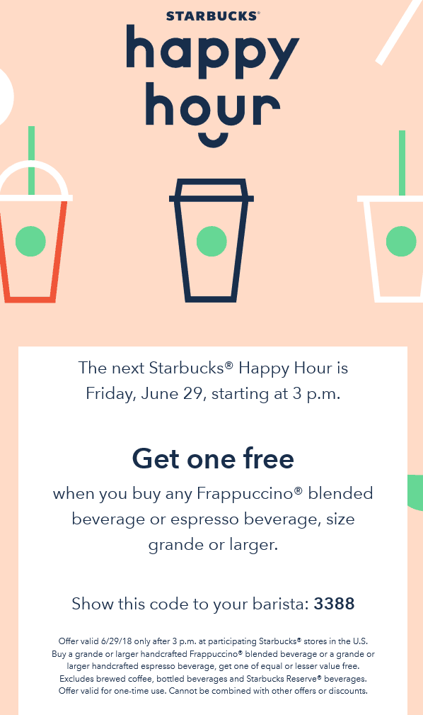 starbucks coupons second frappuccino drink free friday at starbucks
