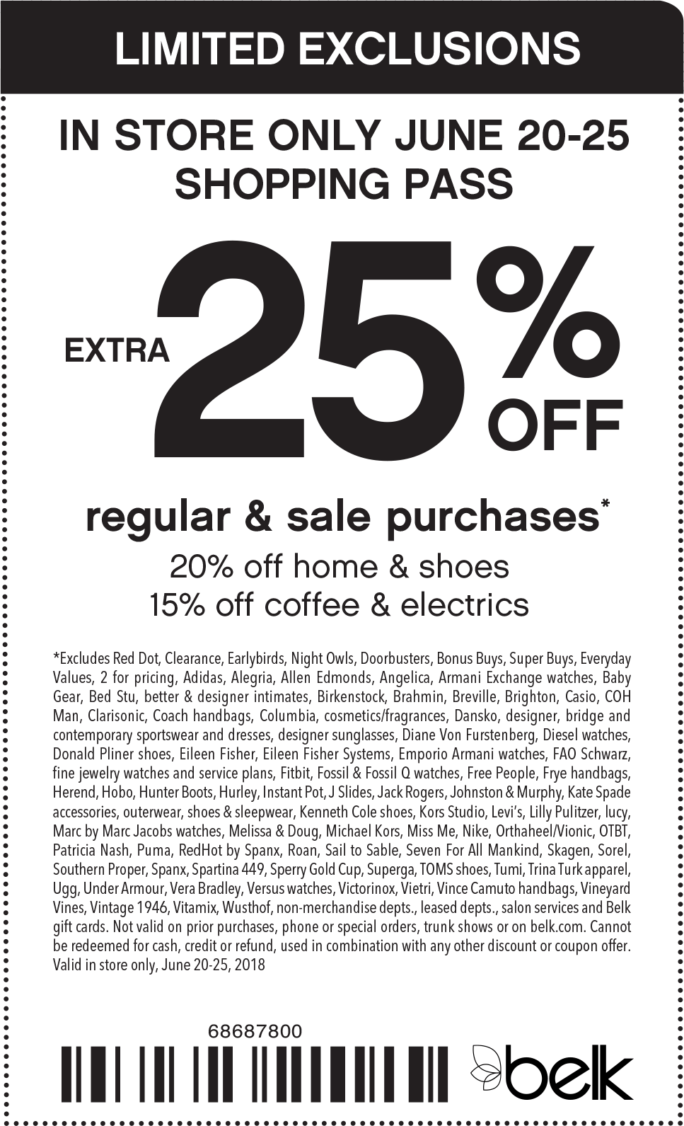 Belk Coupon March 2019 Extra 25% off at Belk
