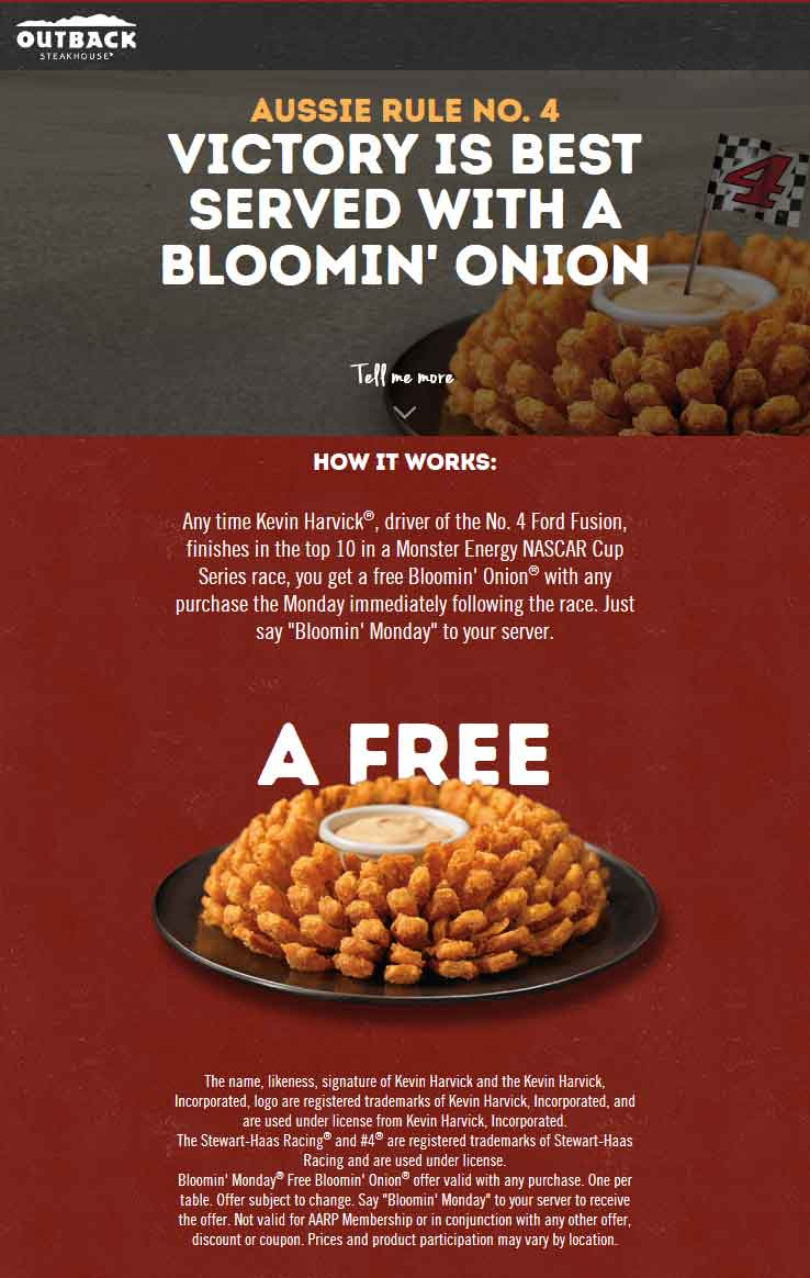 OutbackSteakhouse.com Promo Coupon Free bloomin onion appetizer today at Outback Steakhouse