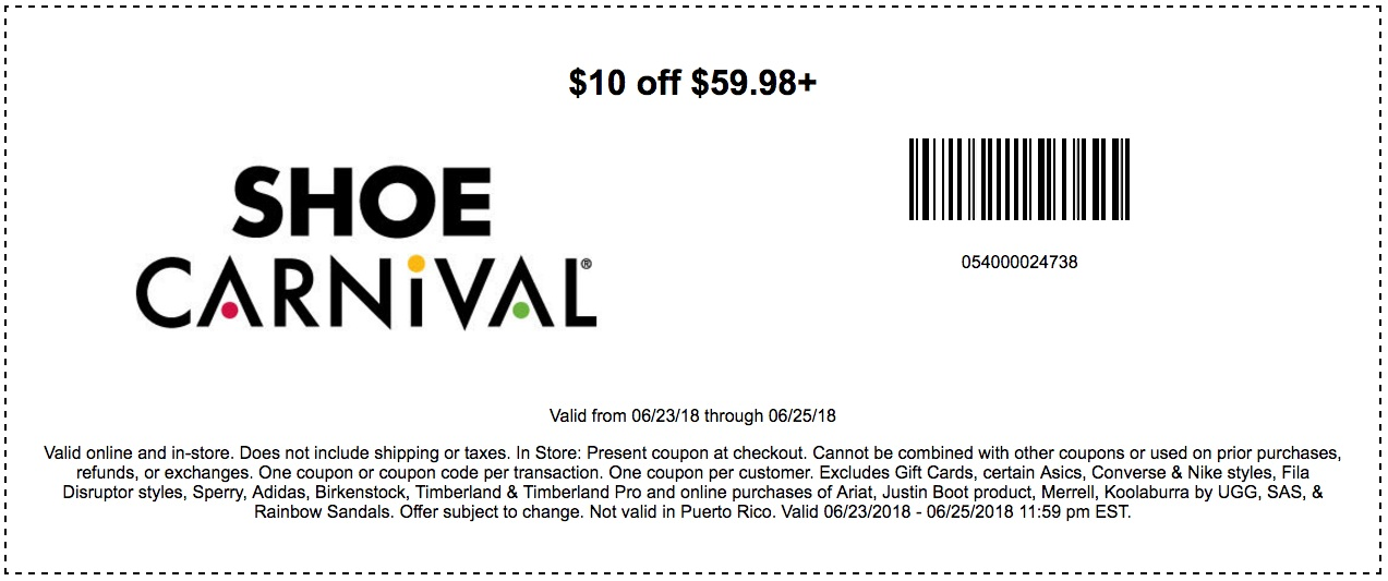 ShoeCarnival.com Promo Coupon $10 off $60 today at Shoe Carnival