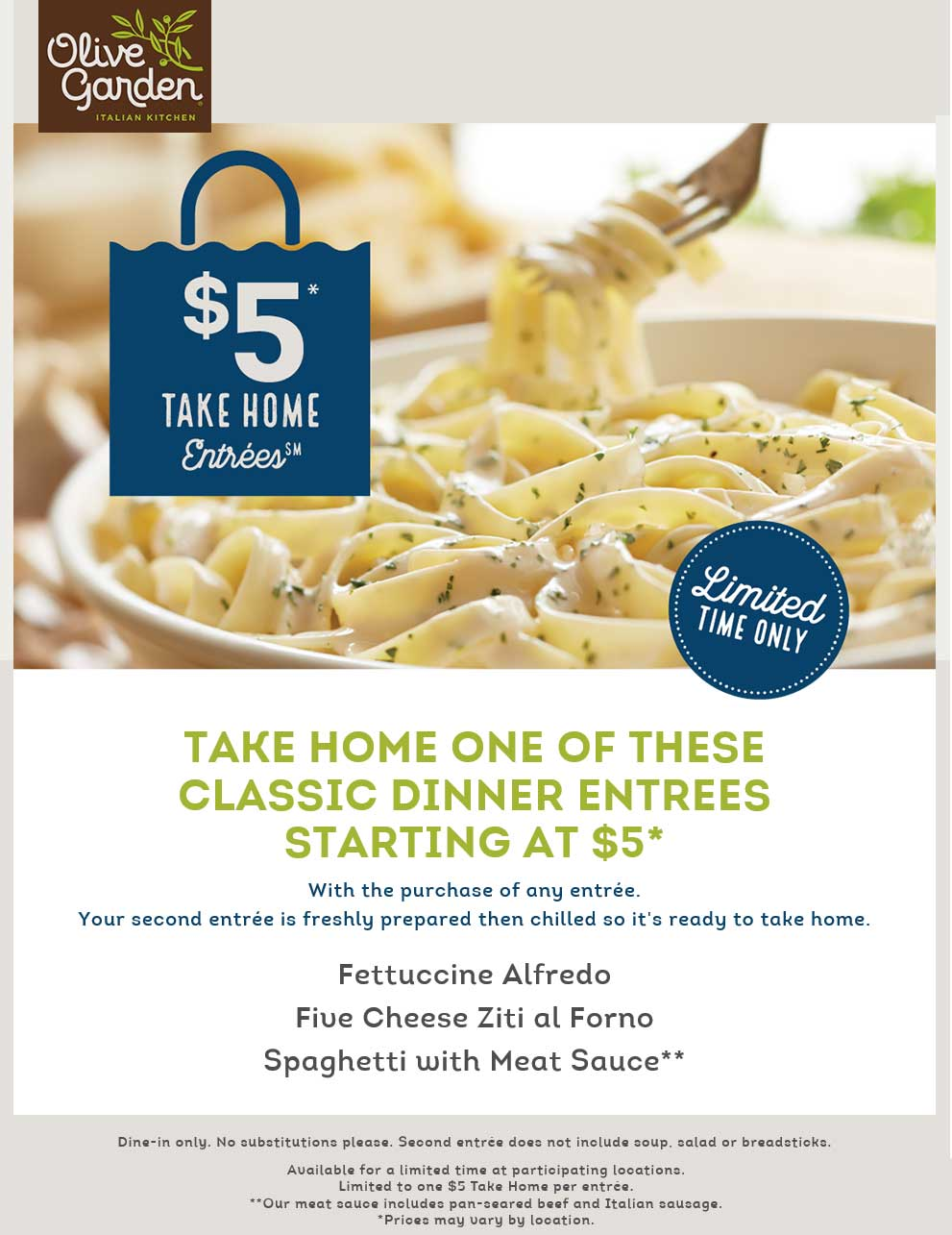 Olive Garden Coupon August 2018 $5 take home entrees at Olive Garden
