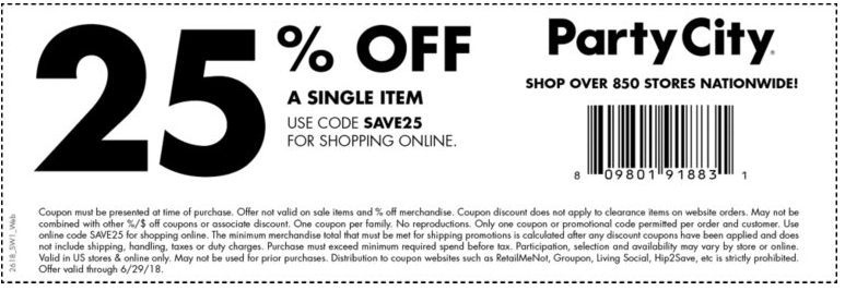 Party City Coupon December 2018 25% off at Party City, or online via promo code SAVE25