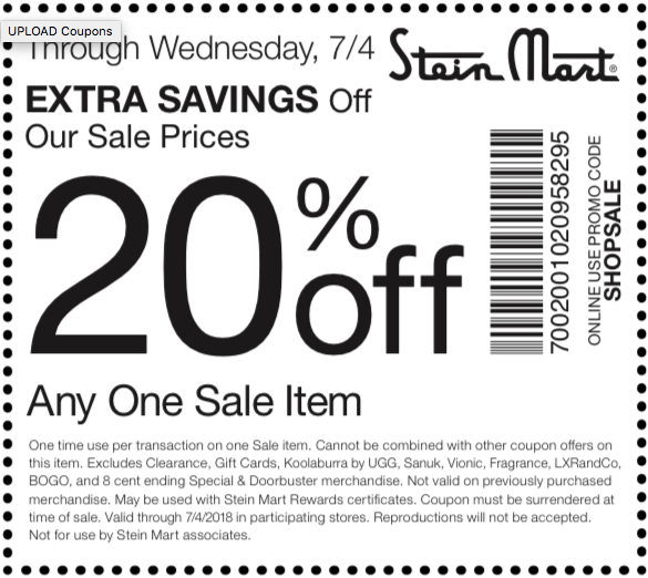 Stein Mart Coupon December 2018 20% off a single sale item at Stein Mart, or online via promo code SHOPSALE
