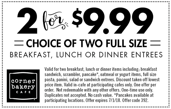 Corner Bakery Coupon March 2019 2 entrees for $10 at Corner Bakery Cafe