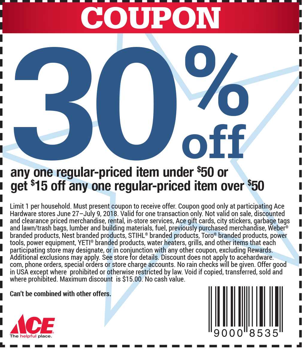 AceHardware.com Promo Coupon 30% off a single item & more at Ace Hardware