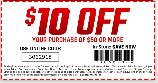 Big 5 Coupon December 2018 $10 off $50 at Big 5 sporting goods, or online via promo code 3062918