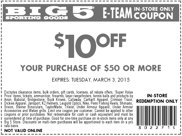 Big 5 Coupon December 2016 $10 off $50 at Big 5 sporting goods
