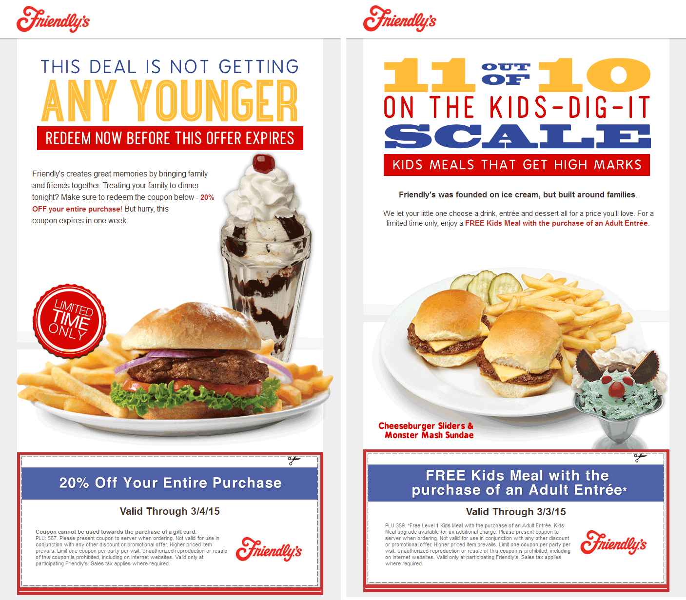 Friendlys Coupon April 2018 20% off & more at Friendlys restaurants