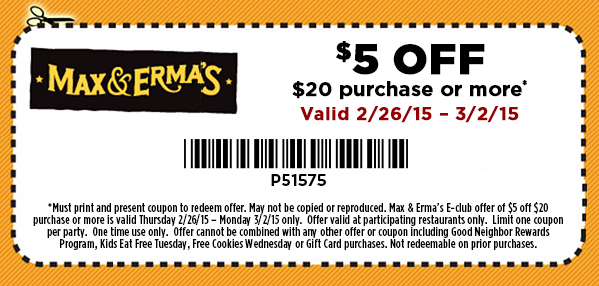 Max & Ermas Coupon December 2016 $5 off $20 at Max & Ermas restaurants