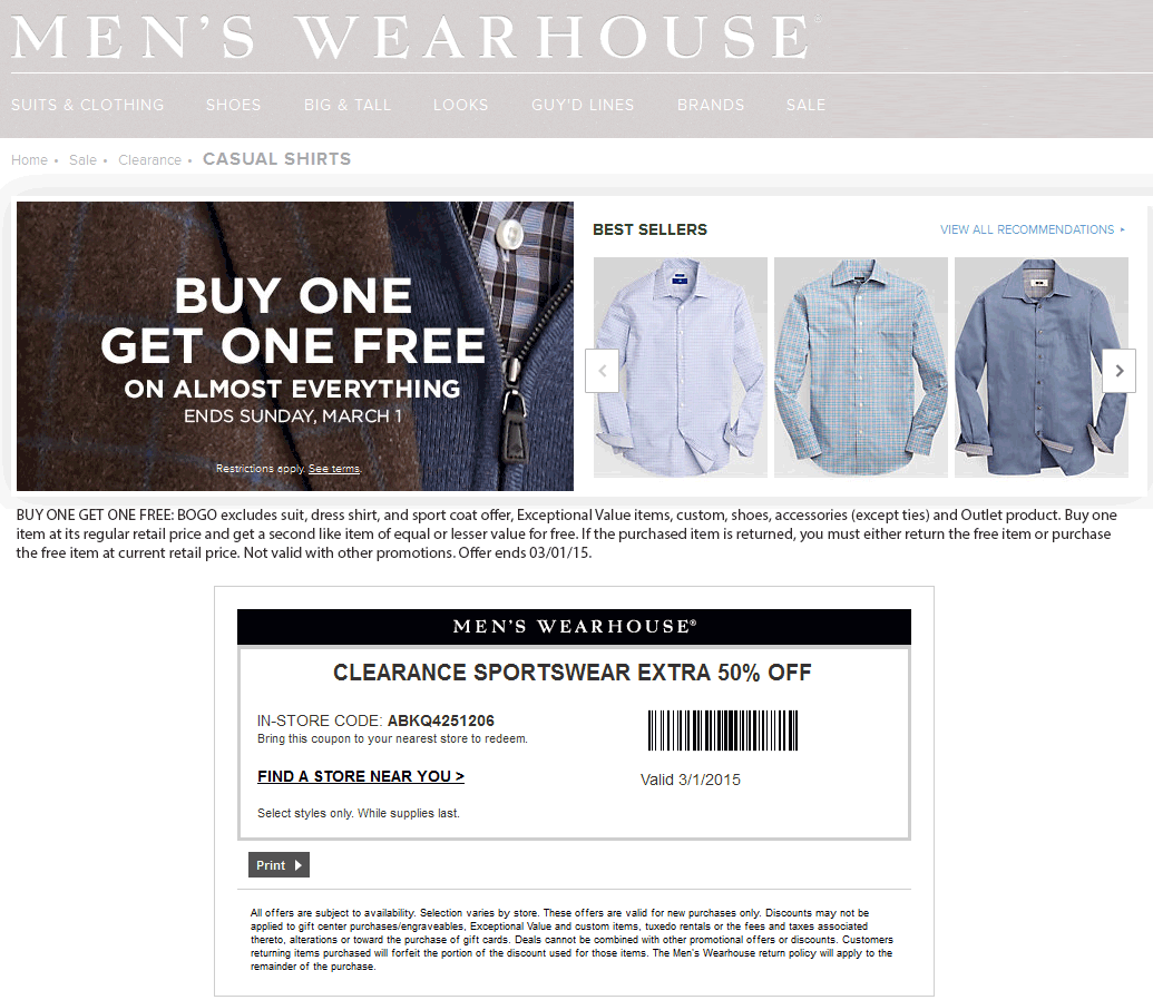Mens Wearhouse Coupon February 2017 50% off clearance sportwear, second item free on everything at Mens Wearhouse