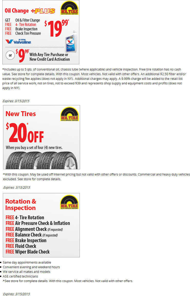 Mr. Tire Coupon October 2018 $20 oil change, free tire rotation & more at Mr. Tire