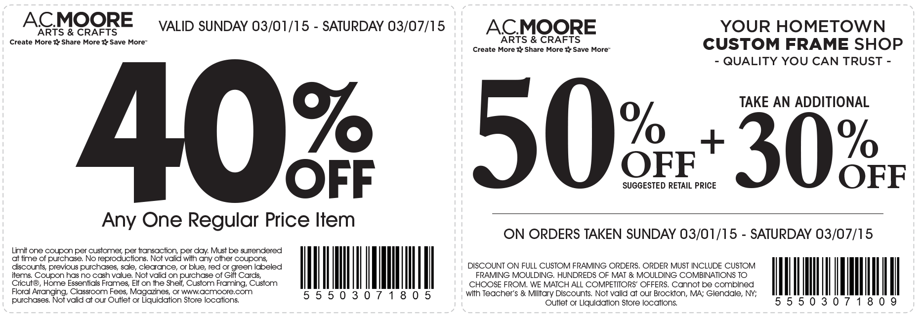 A.C. Moore Coupon August 2019 40% off a single item & more at A.C. Moore