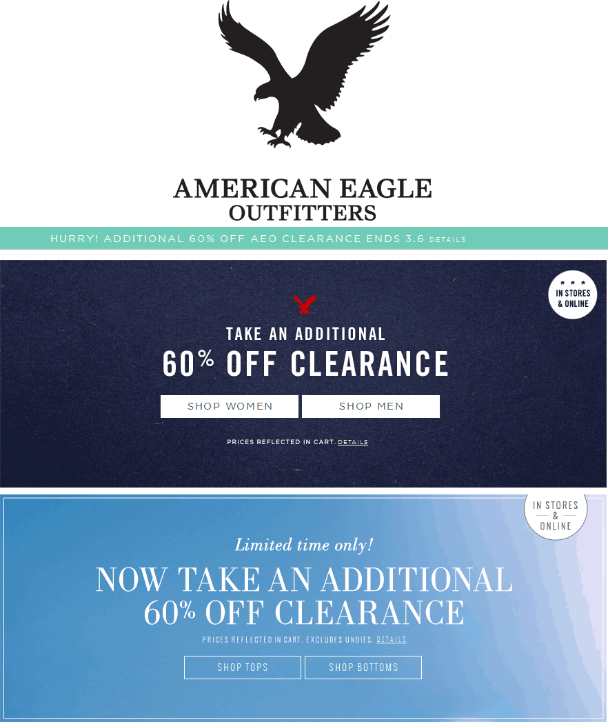 American Eagle Outfitters Coupon October 2016 60% off clearance at American Eagle Outfitters, ditto online