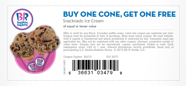 Baskin Robbins Coupon July 2017 Second ice cream cone free at Baskin Robbins