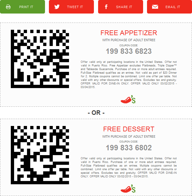 Chilis Coupon January 2017 Free appetizer or dessert with your entree at Chilis