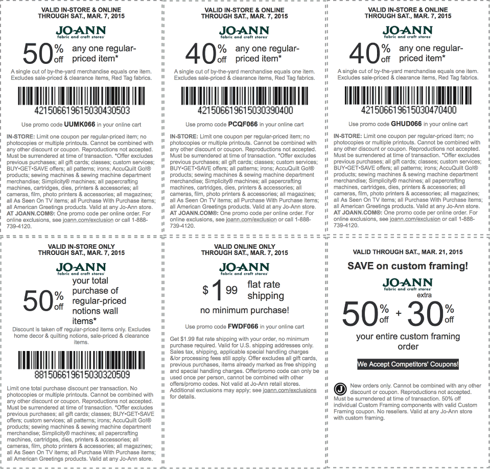 Jo-Ann Coupon October 2018 50% off a single item & more at Jo-Ann Fabric, or online via promo code UUMK066