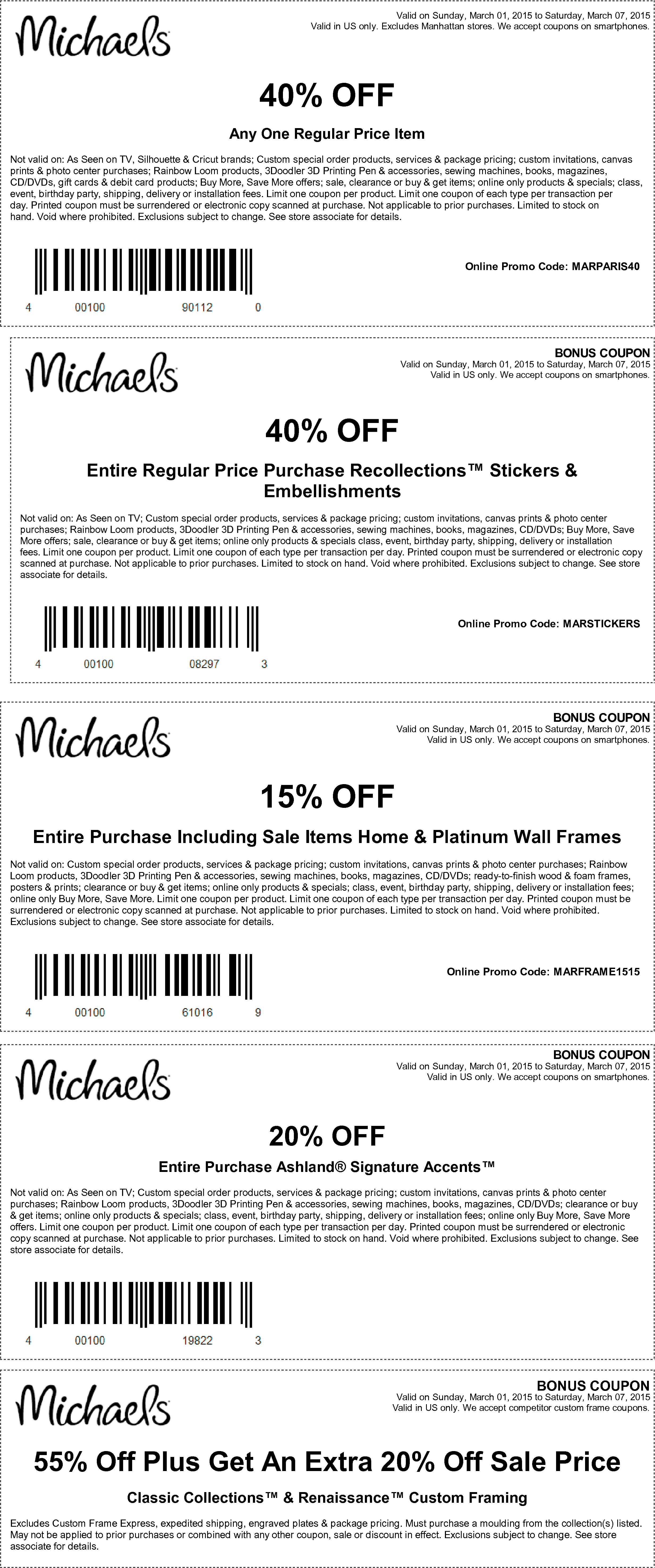 Michaels Coupon August 2018 40% off a single item & more at Michaels, or online via promo code MARPARIS40