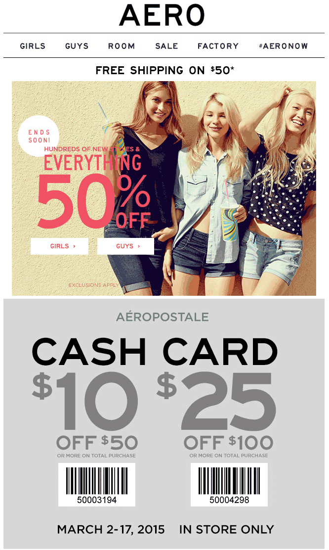 Aeropostale Coupon August 2018 Everything is 50% off + $10 off $50 & more at Aeropostale