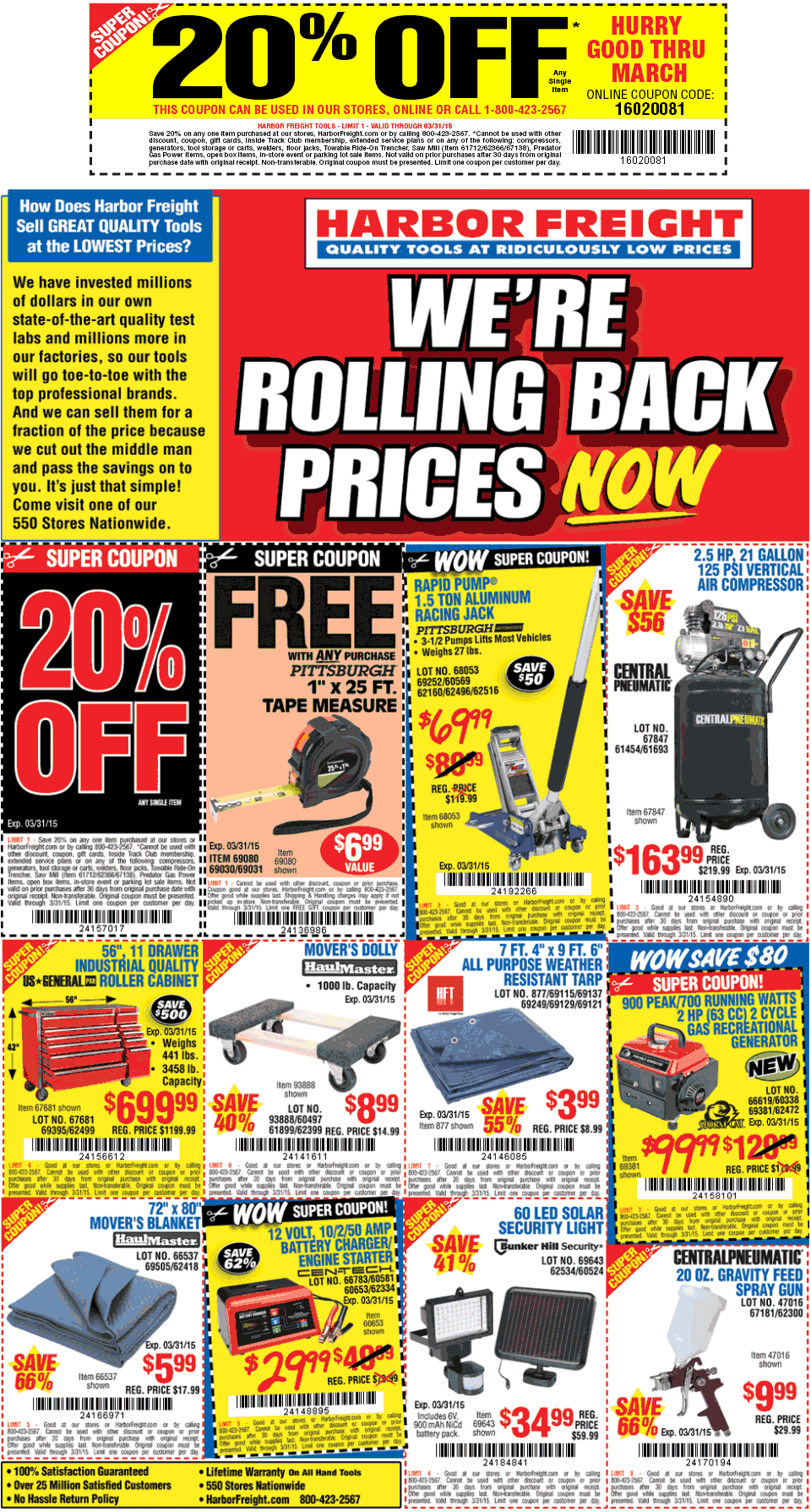 Harbor Freight Coupon January 2017 20% off a single item & more at Harbor Freight Tools, or online via promo code 16020081