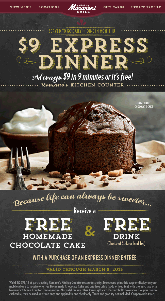 Macaroni Grill Coupon March 2018 Free cake & drink with your dinner at Romanos Macaroni Grill