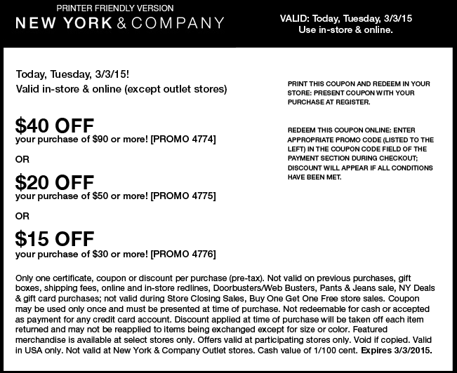 New York & Company Coupon September 2018 $15 off $30 & more today at New York & Company, or online via promo code 4776