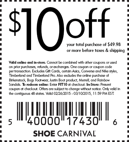 Shoe Carnival Coupon March 2017 $10 off $50 at Shoe Carnival, or online via promo code FIT10