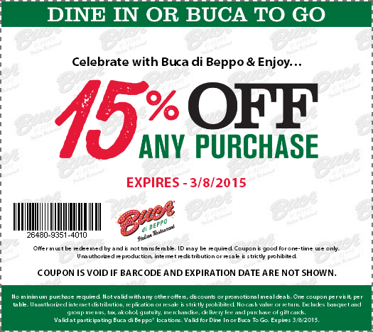 Buca di Beppo Coupon March 2018 15% off at Buca di Beppo restaurants