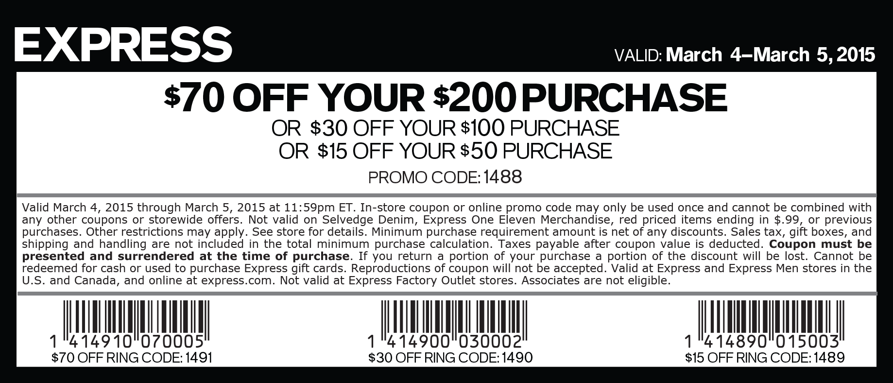 Express Coupon February 2017 $15 off $50 & more at Express, or online via promo code 1488