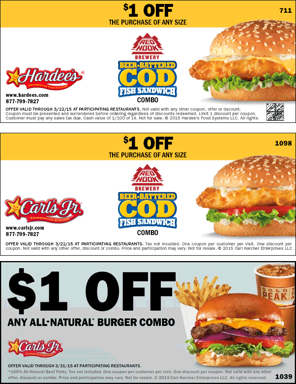 Hardees Coupon February 2018 Shave a buck off your fish combo meal at Hardees & Carls Jr