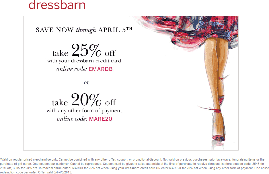 Dressbarn Coupon May 2017 20% off at Dressbarn, or online via promo code MARE20